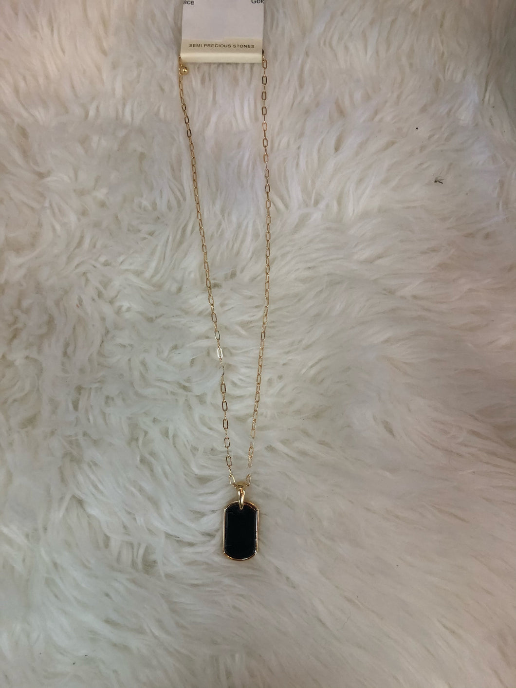 Gold And Black Dog Tag Necklace
