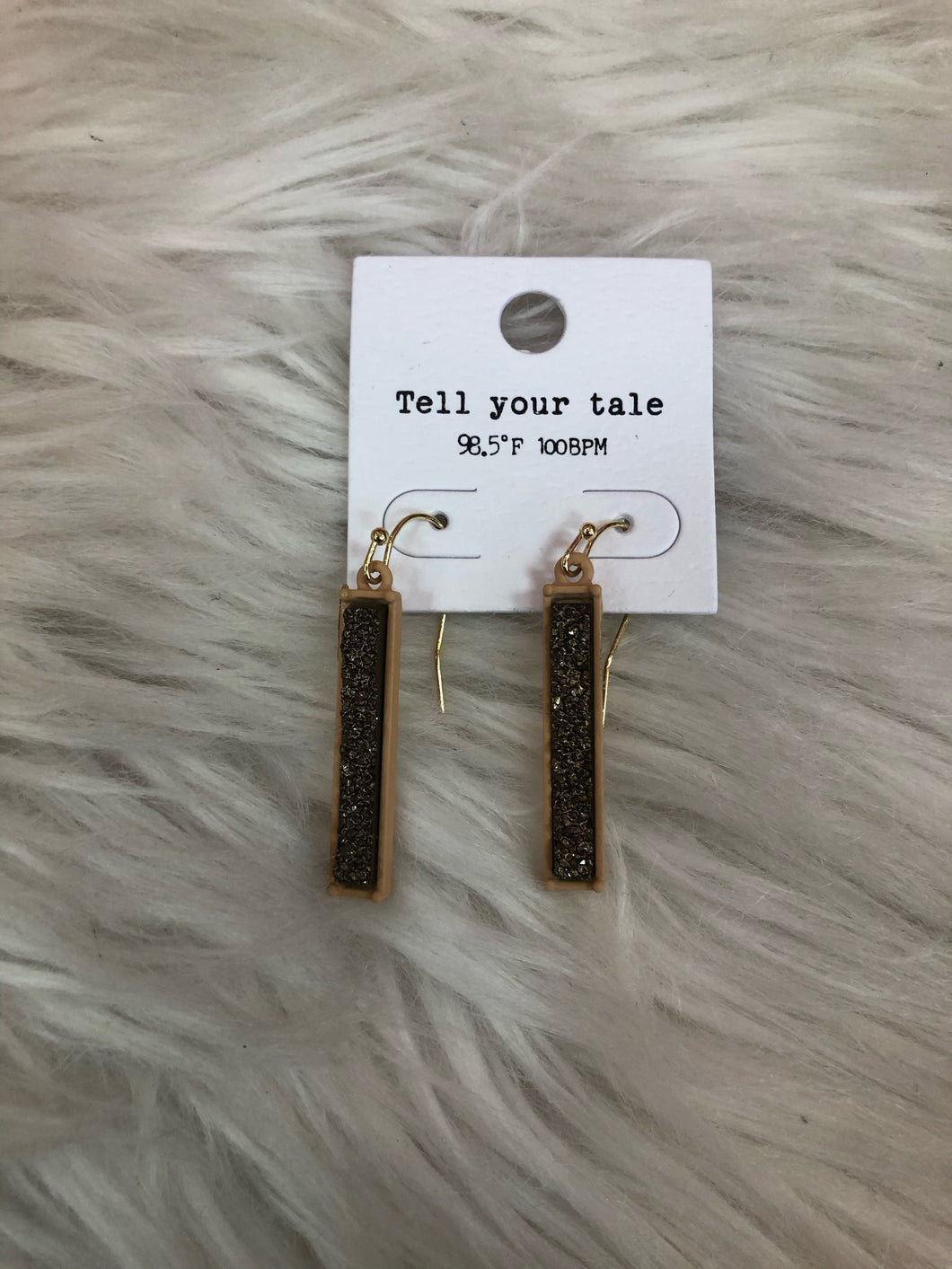 Gold Vertical Bar Earrings With Textured Shimmer