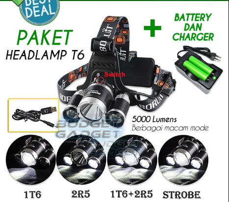 Senter3LED Headlight