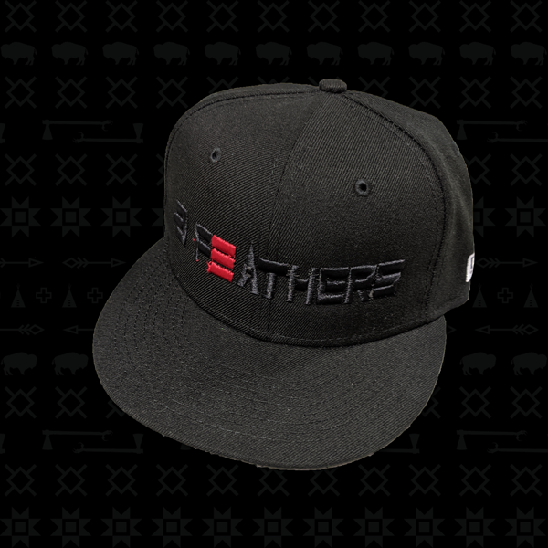 Black Fitted 3 Feathers Logo Hat