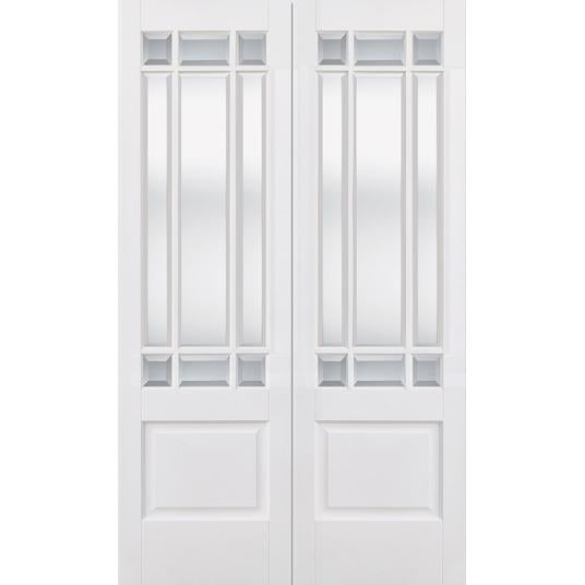 LPD White Downham Pair with Clear Bevelled Glass