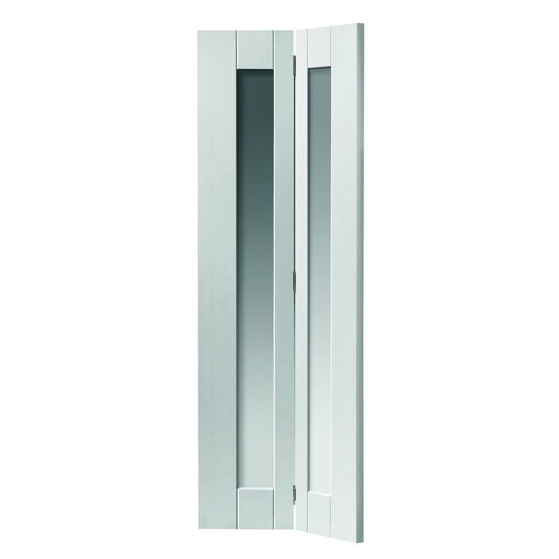 JBKind White Axis White Glazed Bi-Fold with Clear Glass