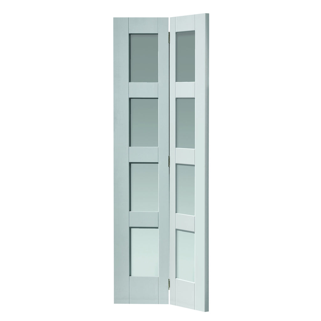 JBKind White Cayman Bi-Fold** with Clear Glass