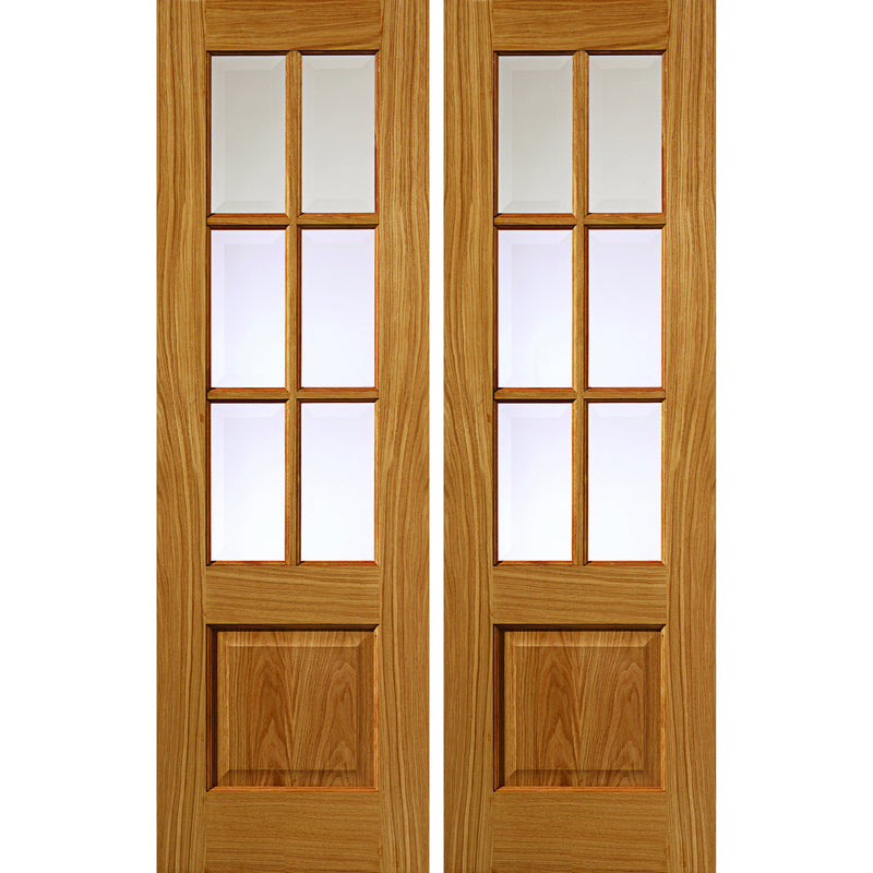 JBKind Oak Dove Pair with Clear Bevelled Glass