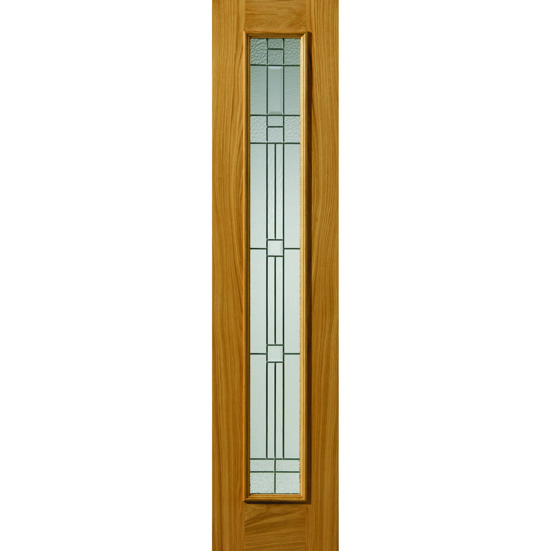JBKind Oak Piedmont Sidelight with Obscure Glass with Zinc Camings