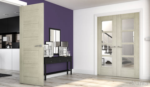 Deanta Montreal Light Grey Ash with Crown cut veneer and clear toughened glass