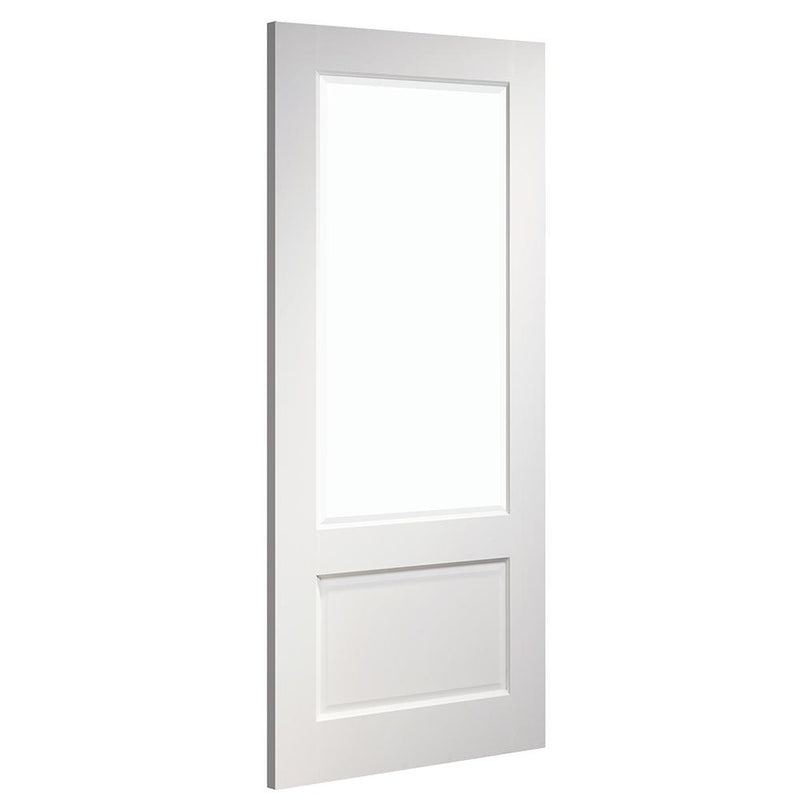 Deanta White Madison with clear Bevelled toughened glass