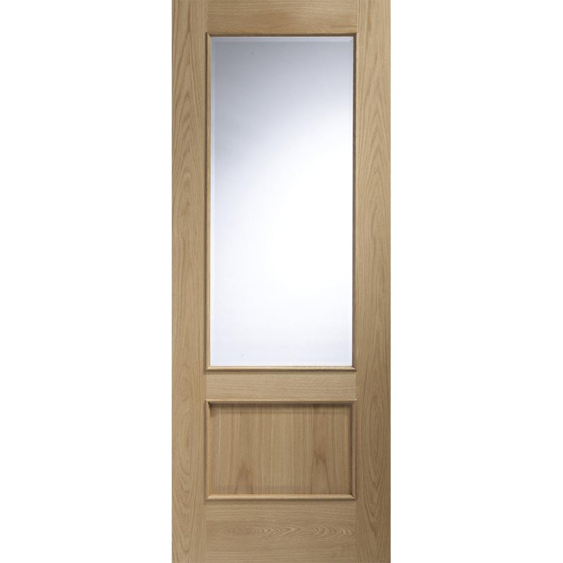 XL Joinery Oak Andria with Raised Mouldings and Bevelled Glass