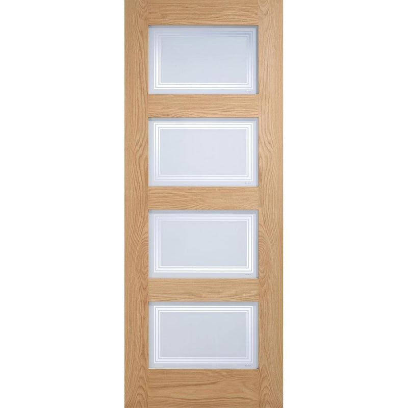 LPD Oak Contemporary 4L with Frosted Glass with Clear Lines