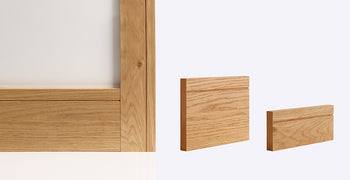 FEATURES Real American White Oak Veneer Fully finished in clear factory applied lacquer MDF Core SIZES Skirting - 3.6M long x 147mm High x 16mm Thick (pack of 4) Architrave set - 80mm Wide x 16mm Thick (covers both sides of door frame)