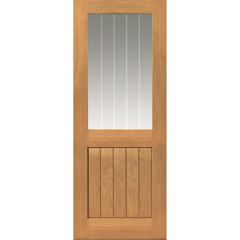 JBKind Oak Thames II 1/2 Light with Clear Glass and Etched Lines