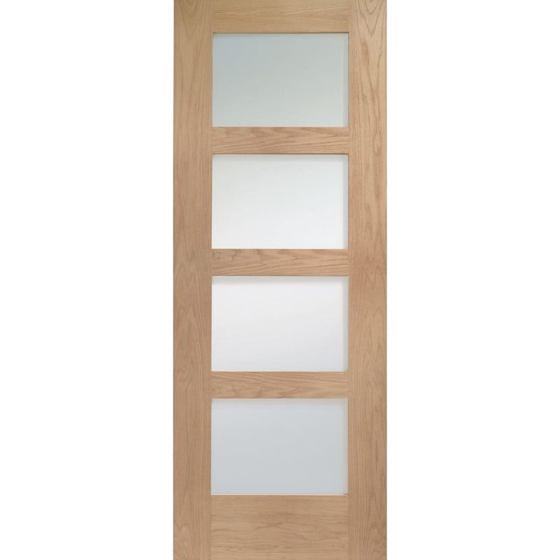 XL Joinery Oak Shaker 4 Panel with Clear Glass