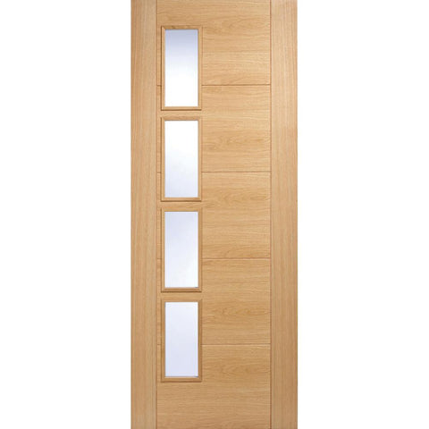 LPD Oak Vancouver 4 Light Offset with clear Toughened Glass