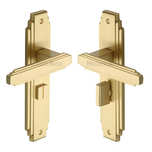 Astoria Art Deco Bathroom Handle (Satin Brass)