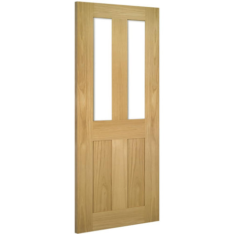 Real American White Oak veneer, Crown cut veneer, 32mm can be taken of the width and height of the door, Solid core, Unfinished and Fully finished available Covered by Deanta 10 year warranty, Bespoke sizes available, Clear toughened safety glass (flat glass - no bevel)
