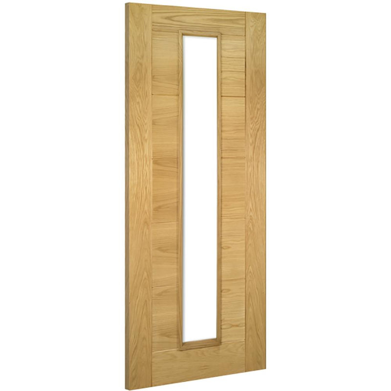 Deanta oak Seville with clear toughened glass
