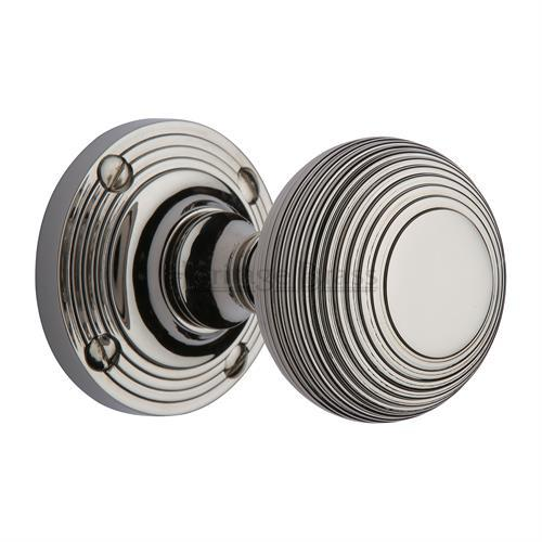 M.Marcus, Reeded knob handle Polished Nickel Finish