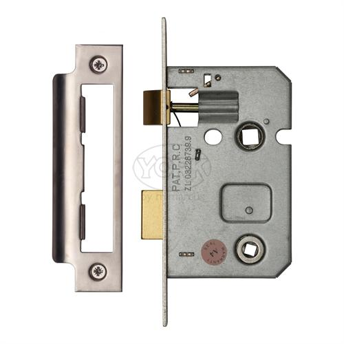 "M.Marcus Satin Chrome/ Nickel Finish 2.5"" Bathroom lock (bolt through)"