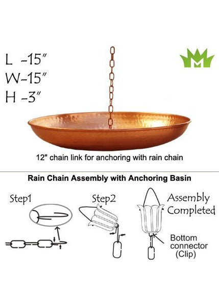 Monarch Rain Chains Pure Copper Hammered Anchoring Basin 15 inches