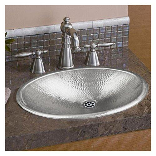 Monarch Hand Hammered Nickel Oval Drop In Bathroom Sink, 17 inches