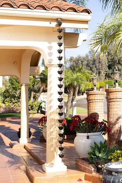 Monarch Aluminum Lotus Black Powder Coated Rain Chain 8.5ft. length Rain Chains > Aluminum Monarch Abode
