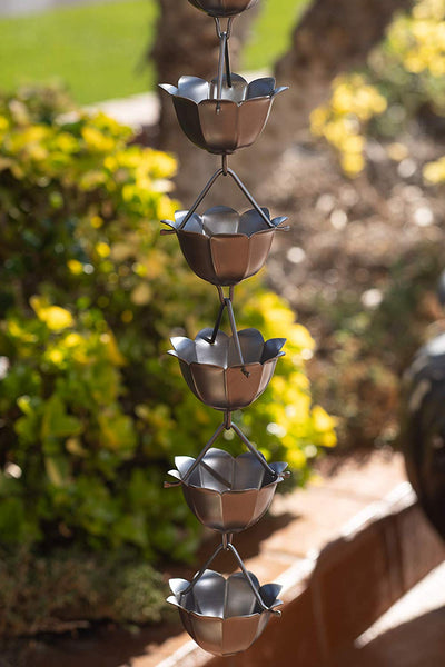Monarch Aluminum Lotus Pewter Powder Coated Rain Chain 8.5ft. length Rain Chains > Aluminum Monarch Abode