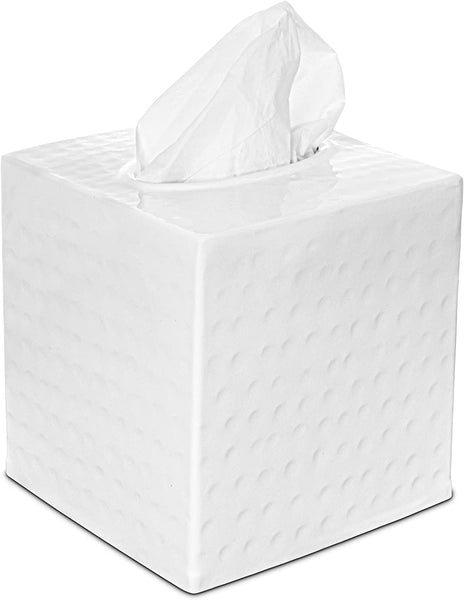 Monarch Abode Hand Hammered Metal Classic White Tissue Box Cover Bathroom Collection > Tissue Box Cover Monarch Abode