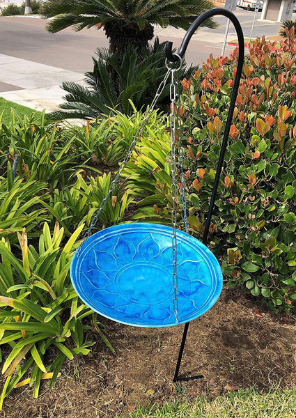 Monarch Abode Handcrafted Sky Blue Oasis Hanging Bird Bath Bird Feeder