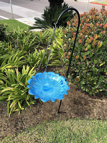 Monarch Abode Handcrafted Sky Blue Lotus Hanging Bird Bath Bird Feeder