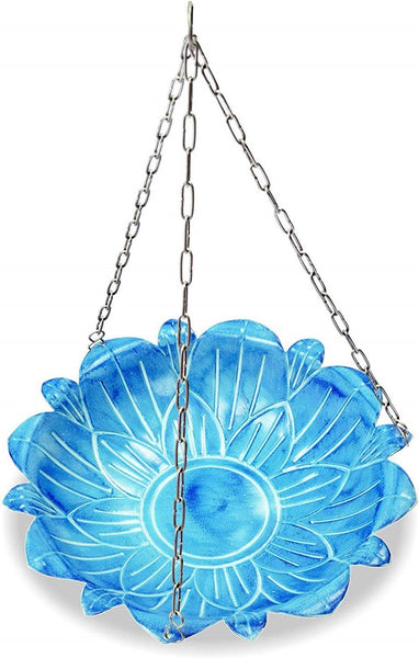 Monarch Abode Handcrafted Sky Blue Lotus Hanging Bird Bath Bird Feeder Garden Decor > Bird Baths > Metal Monarch Abode