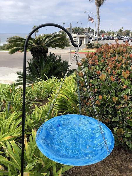 Monarch Abode Handcrafted Sky Blue Paradise Hanging Bird Bath Bird Feeder Garden Decor > Bird Baths > Metal Monarch Abode