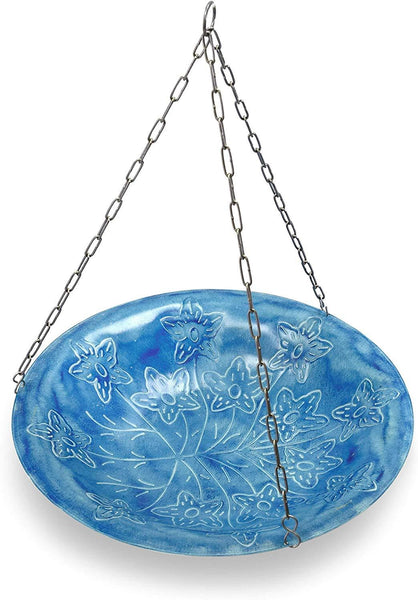Monarch Abode Handcrafted Sky Blue Paradise Hanging Bird Bath Bird Feeder
