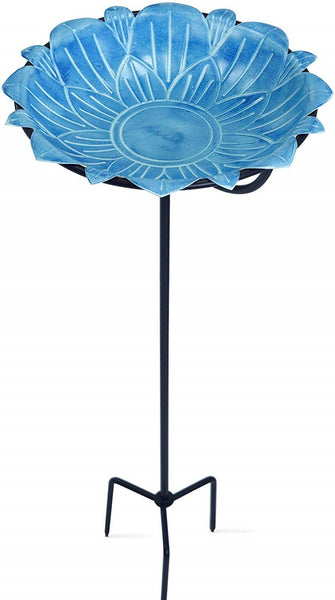 Monarch Abode Handcrafted Sky Blue Lotus Standing Bird Bath Bird Feeder with Metal Stake