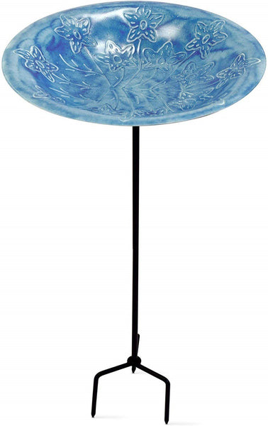 Monarch Abode Handcrafted Sky Blue Paradise Standing Bird Bath Bird Feeder with Metal Stake