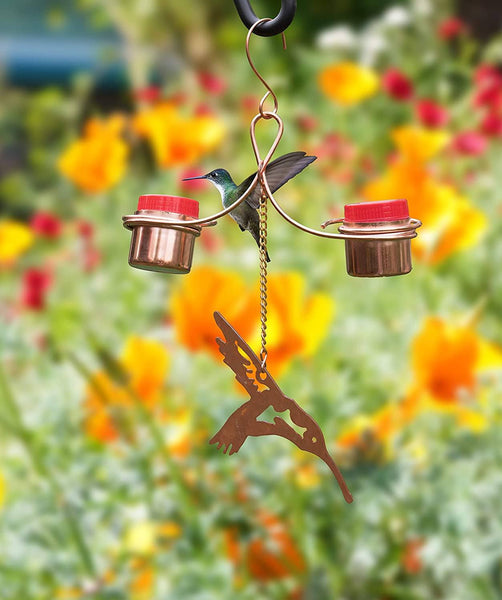 Monarch Abode Pure Copper Handcrafted Hummingbird Feeder Monarch Abode