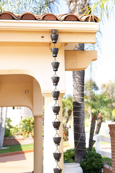 Monarch Aluminum Akira Black Powder Coated Rain Chain 8.5 ft. Rain Chains > Aluminum Monarch Abode