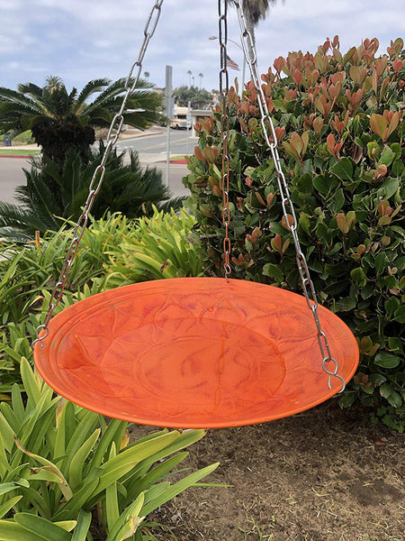 Monarch Abode Handcrafted Sunset Orange Oasis Hanging Bird Bath Bird Feeder