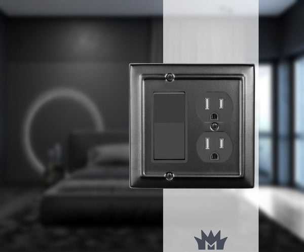 Monarch Abode Architectural Matte Black Rocker Duplex Wall Plate / Switch Plate Hardware > Wall Plates > Metal Monarch Abode
