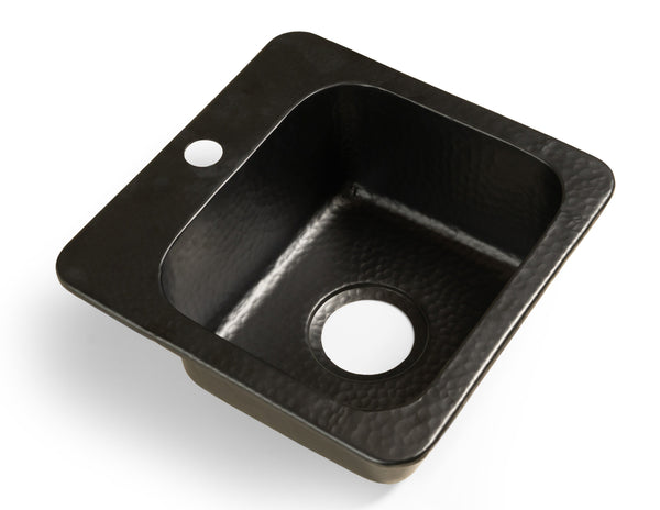 Monarch Abode Matte Black Hand Hammered Baxter Bar Prep Sink (15 inches) Sinks > Bar/Kitchen > Aluminum Monarch Abode