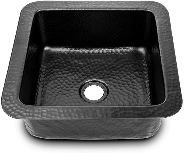 Monarch Abode Hand Hammered Aluminum Matte Black Glasgow Dual Mount Bar Prep Sink (12 inches)