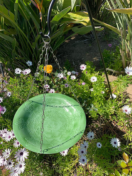 Monarch Abode Handcrafted Seafoam Green Paradise Hanging Bird Bath Bird Feeder Monarch Abode
