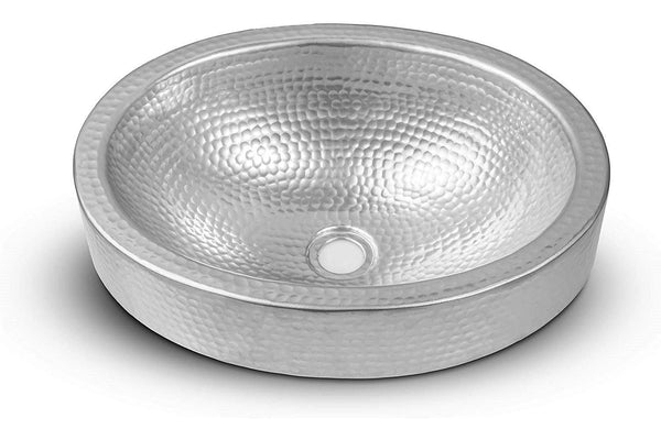 Monarch Abode Hand Hammered Silver Skirted Vessel Bathroom Sink (17 inches)