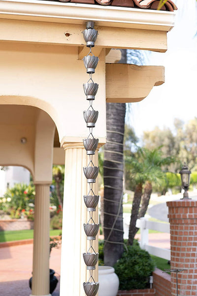 Monarch Aluminum Akira Pewter Powder Coated Rain Chain 8.5 ft. Rain Chains > Aluminum Monarch Abode