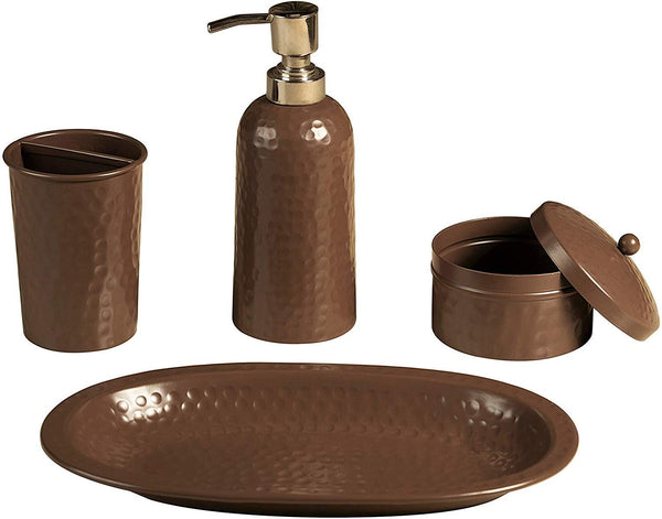 Monarch Abode Hand Hammered Beaver Brown 4-Piece Bathroom Accessories Set Bathroom Collection > Bathroom Accessories Set Monarch Abode