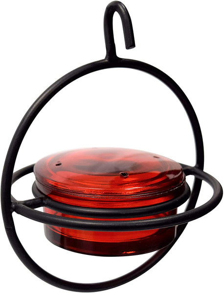 Monarch Abode Circular Hummingbird Feeder (Red Glass Feeder) with Perch