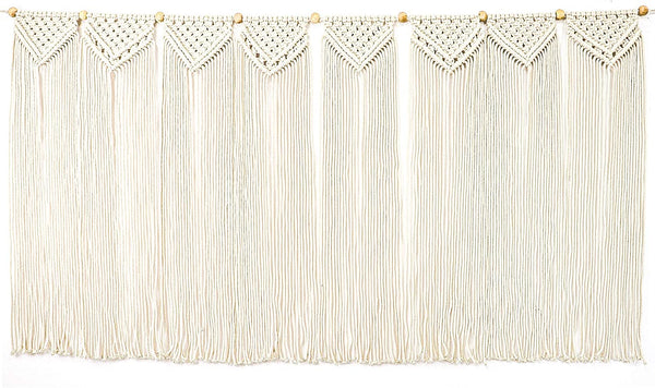 "Monarch Abode Macrame Wall Hanging Art Woven Boho Home Décor with Wooden Beads (48"" W x 27"" H), White"