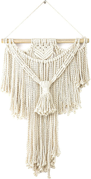 "Monarch Abode Macrame Wall Hanging Art Woven Boho Home Décor (15"" W x 27"" H), White Home Decor > Wall Pediments Monarch Abode"
