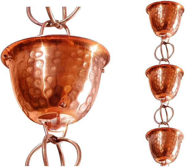 Monarch Rain Chains Pure Copper Hammered Cup Rain Chain with Ring 8.5 ft. Rain Chains > Copper Monarch Abode