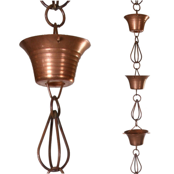 Monarch Rain Chains Pure Copper Mizoko Rain Chain 8.5 ft. Monarch Abode