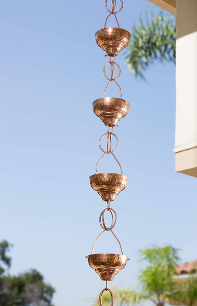 Monarch Rain Chains Pure Copper Hammered Eastern Cup with Link Rain Chain 8.5 ft. Rain Chains > Copper Monarch Abode